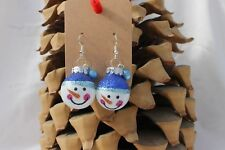 Festive Christmas Ornament Snowman w/Bell Holiday Earrings Fashion Jewelry