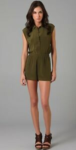SALE!! Reformation Ricky Romper Green Silk openback playsuit RETAIL $253 XS