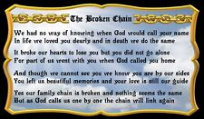 (Broken Chain Memorial)  WALL DECOR,  RUSTIC, PRIMITIVE, HARD WOOD, SIGN, PLAQUE