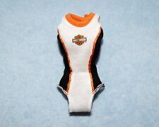 HARLEY DAVIDSON Black White Orange Genuine BARBIE Sleeveless Body Suit Shirt
