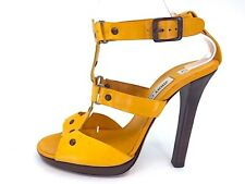 JIMMY CHOO Yellow Leather Riveted Strappy Micro Platform sandals SZ 40