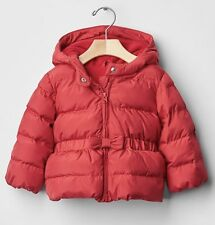 NWT BABY GAP Girl Sz 0-6 Months Red Warmest Bow Peplum Puffer Jacket