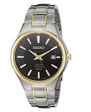 NWOT Men's Seiko Two-Tone Titanium SNE382 Black Dial Date Solar 100m Watch