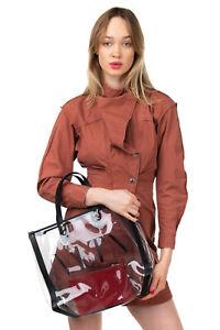 RRP €785 VALENTINO GARAVANI VLTN Tote Bag Transparent Rockstud Removable Pouch