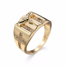 Men Jesus Christ Cross Chunky Ring Band 18K Gold Tone Jewelry Size 12