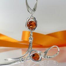 A564 Ohrringe Quasten 925 Sterling Silber Schmuck baltischer Bernstein Perlen