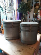 VINTAGE STYLE GALVANIZED LIDDED BUCKETS - TWO SIZES AVAILABLE -FREE POSTAGE