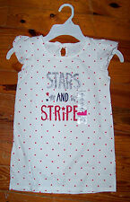 New! Girls JUMPING BEANS White Red Blue Stars & Stripes Tunic Shirt Size 6X