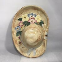 Vintage Art Pottery Hat Pink Flowers Butterfly Wall Hanging Pocket Plaque Japan