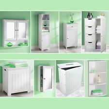 White Bathroom Cabinet Storage Unit Mirror Door Cupboards Drawers Home Furniture