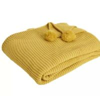 Mustard Chunky Knit Throw Pom 180X150cm Snuggle Soft Warm Sofa Bed Blanket New
