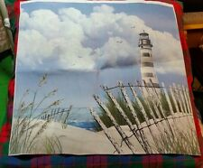 Fabric Panel Beach Scene with Lighthouse Unfinish Wall Hang/Pillow Crafter