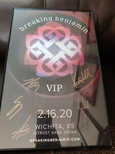 Breaking Benjamin Autographed Signed VIP Concert Poster Framed Wichita Ks