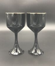 Two Onyx & Gold Barware Collection Fitz & Floyd Black Wine Glasses Goblets