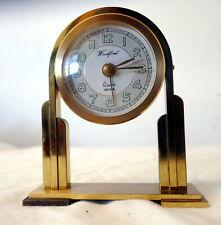 Woodford Brass Art Deco Quartz Mantle Alarm Clock (New Battery)
