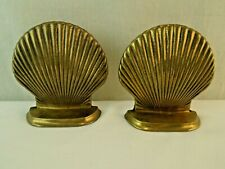 Pair of Vintage Solid Brass Shell Book Ends Nautical Beach Cottage Decor Bookend