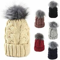 Womens Genuine Real Raccoon Fur Pom Pom Knitted Hat Beanie Bobble Winter Warmer