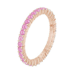 Round Cut Pink Tourmaline Eternity Band Ring 14K Rose Gold Over Sterling