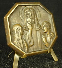 Médaille remigieuse vers 1950 religious Christ et ostie 111g 61mm Medal 铜牌