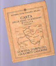 carta touring club italiano - cartina cortina d ampezzo e dolomiti cadorne- 1919