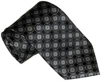 $285 NEW BRIONI BLACK SILVER & GRAY MEDALLIONS 100% SMOOTH SILK TIE