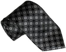 NEW BRIONI BLACK SILVER & GRAY MEDALLIONS 100% SMOOTH SILK NECK TIE