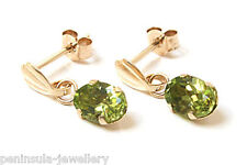 9ct Gold Peridot Dangly Earrings Gift Boxed Made In Uk Christmas Xmas