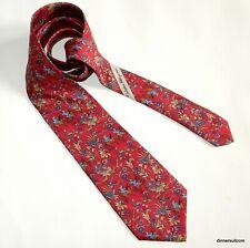Salvatore Ferragamo Red Silk Tie Necktie Hunter on horseback Flowers 9cm SUPERB
