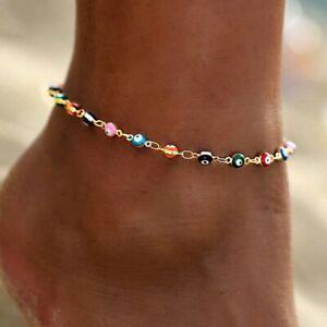 925 Silver Boho Anklet Bracelet Turkish Evil Eye Beads Charms Women Jewlery Gift