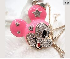 Betsey Johnson Necklace Mickey Mouse Hot Pink Gold Crystals Mickey Mouse 450