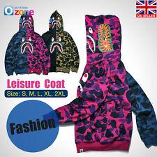 bf69c331e365 Men s Shark Jaw Camo A Bathing Ape BAPE Full Zipper Coat Hoodie Sweats Jacket  M