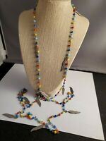 Vintage 52 and blue yellow red glass beaded necklace