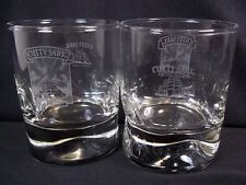 New listing Cutty Sark Scots whisky glass white schooner 2 logos pinched base 6 oz whiskey