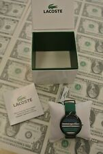 NWT Lacoste GOA Watch Unisex Silicone Black and Green Band 2010572 Stripe Face