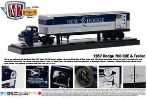 BLUE 1957 DODGE 700 COE WITH NEW 59 DODGE TRAILER M2 MACHINES 1:64 DIECAST MODEL