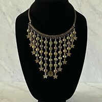 Vintage Statement Bib Necklace Clay Bead Dangles Faux Chinese Coin Charm