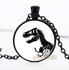 Rex necklace Dinosaur photo Glass Dome black Chain Pendant Necklace wholesale