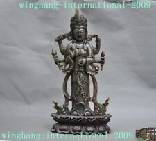 100% natural Hetian jade Tibetan lotus 6 arm tara Kwan-Yin GuanYin Buddha statue