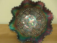Vintage 1920's Carnival Glass Iridised Blue Footed Bowl Fenton Grape and Cable