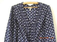 Rebecca Taylor 100% Silk French Navy Print Easy Smock Tunic Knee Dress XL 16 18