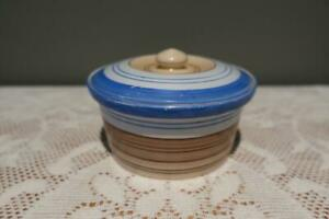 Vintage Sadler England Small Art Deco Sugar Bowl - Blue / Brown - Collectable