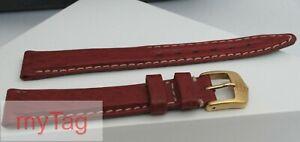 Original Genuine TAG Heuer Ladies Red Sharkskin Strap w/Gold Tang Buckle 14mm