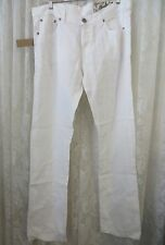 CLAUDIO Milano Natural Fabric PANT JEAN Linen 34 x 34 Eco Friendly WHITE