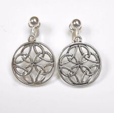 TRADITIONAL DESIGN CELTIC KNOT  CLIP ON EARRINGS  (or hook options)