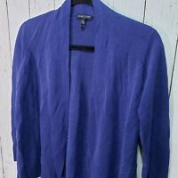 Eileen Fisher Blue Silk Cotton Blend Open Front Cardigan Sweater Size MP