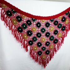 1940s Vintage Crochet Red Floral Throw Afghan Blanket with Tassles Triangular
