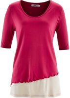 Damen 2-in-1-Shirt Top mit halblangen Ärmeln beerenrot Größe 44/46 NEU