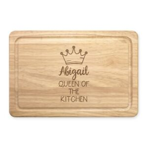 Personalised Name Queen Of The Kitchen Rectangular Wooden Chopping Board Custom