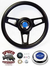 "1960-1969 Chevy pickup steering wheel BLUE BOWTIE 13 3/4"" BLACK SPOKE"