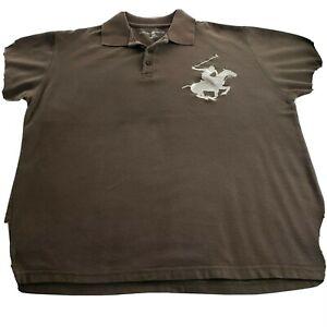 Beverly Hills Polo Club Brown Short Sleeve Polo Shirt mens xl casual